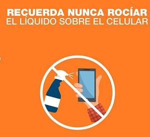 No rociar liquido sobre el celular